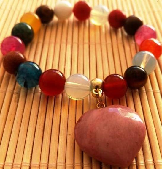 Pulseira De Pedra Variada E Pigente Jaspe Rosa Afasta Stress