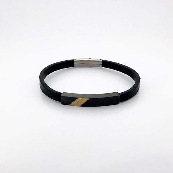 Bracelete Rosso Couro 20,5cm Placa Black