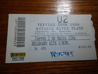 Entrada Recital U2 En Argentina - 2 Marzo 2006