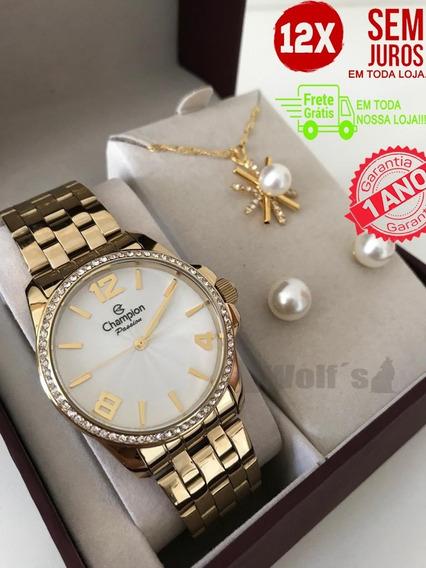 Relógio Feminino Original Dourado Champion Com Kit