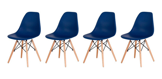 Conjunto Kit 4 Cadeiras Charles Eiffel Eames Wood Design Base Madeira Várias Cores Sala Jantar Cozinha