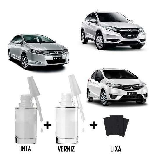 Tinta Tira Risco Automotivo Honda Fit Civic City Hrv Prata