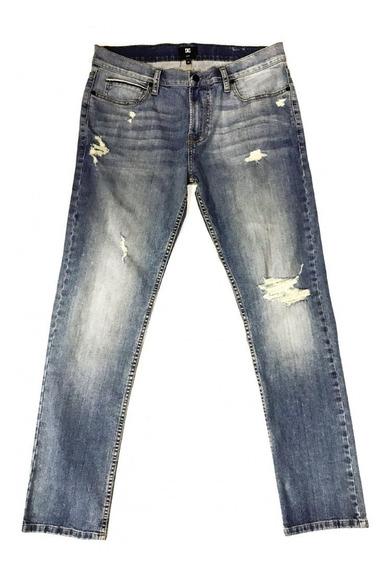 Dc Pantalon Jean Hombre Ean Wrk Skinny Bleach Destroy