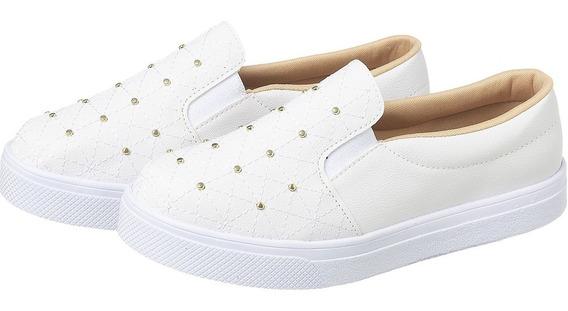 Tênis Slip On Branco Costurado