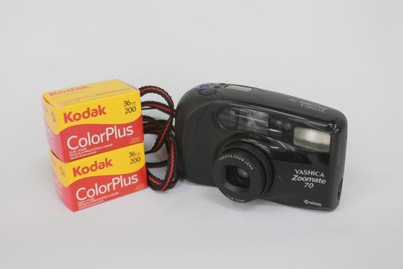 Câmera Yashica Zoomate 70 Com Filmes _ Funcionando