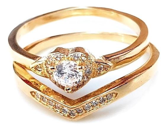 Anel Feminino Solitário Coração Com Aparador Banhado Ouro