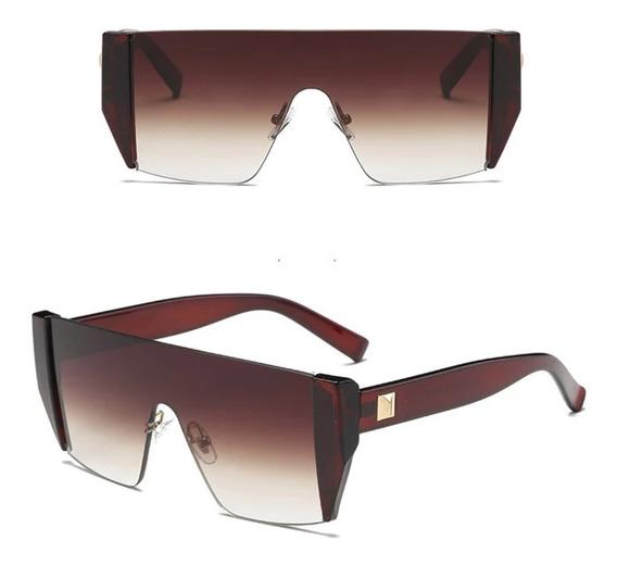 Óculos De Sol Futurista Marrom Degradê Uva Uvb C4