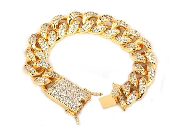 Pulsera Premium Broche Diamantada Cubana 20mm Oro Laminado