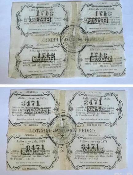Billetes 1 2 Real De Loteria Sn Pedro Puebla 1878 Escaso