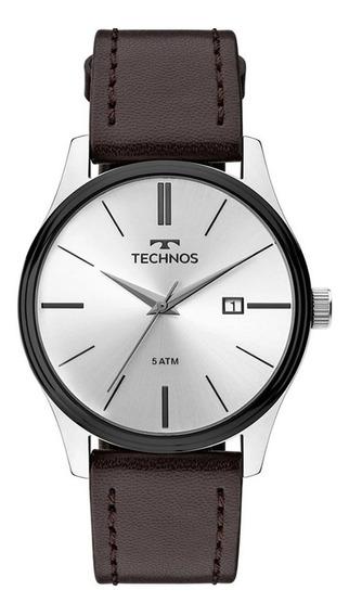 Relógio Technos Aço Pulseira De Couro 2115mpp/1k Prateado