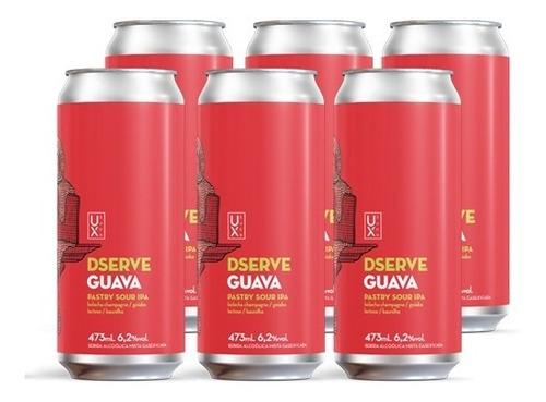 Cerveja Ux Brew Dserve Guava Caixa C/ 6 Latas 473 Ml