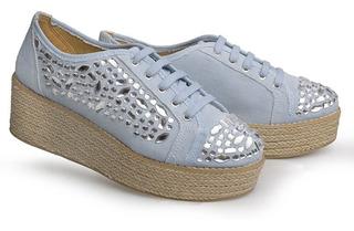 Sapato Anabela Casual Flamarian 57005 Jeans
