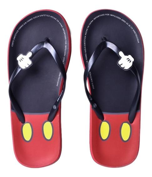 Sandalia Mickey Mouse Unisex Negro Y Rojo Sticker De Mickey