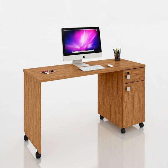 Mesa Escrivaninha Computador Malta Gaveta Com Chave Amêndoa