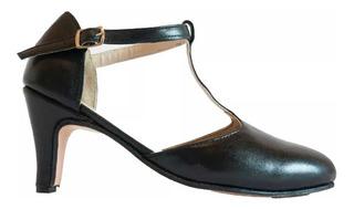 Zapatos Tango, Salsa, Bachata Cuero Negro