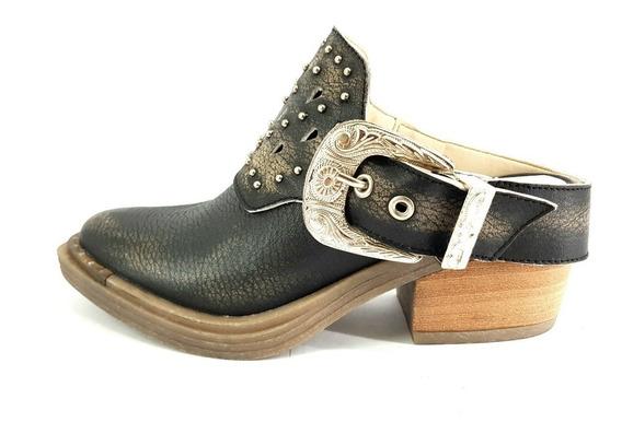 Zueco Zapato Cuero Texano Charrito Mujer Hebilla Desmontable