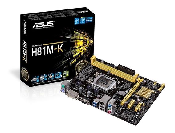 Placa Mãe Lga1150 Asus H81m-k Usb 3.0 Dvi Gamer H81 Box