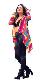 Kimono Cardigan Casaco Blusa Fabi Colorido Rainbow Neon