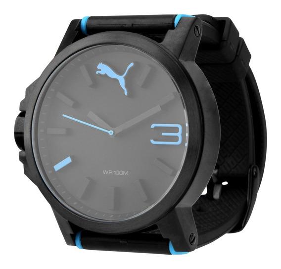 Relógio Puma Ultrasize - Preto E Azul Turquesa