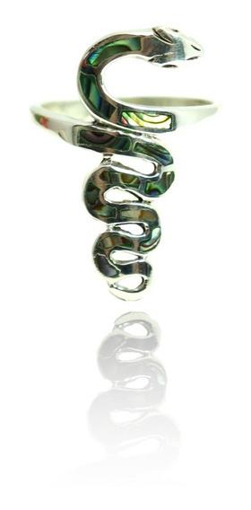 Lindo Anel Prata Maciça 925 Cobra C/ Pedras Abalone
