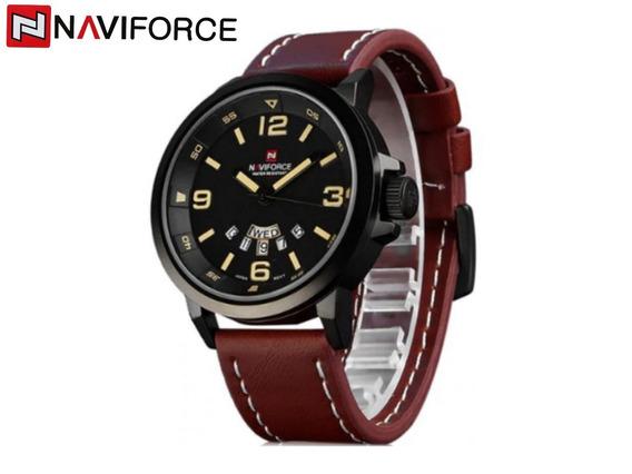 Relógio Masculino Naviforce 9028 Preto Original Pulseira Em Couro Japan Quartz A Prova D