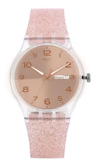 Relógio Swatch Pink Glistar Feminino Rosa Suok703