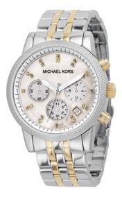Relógio Michael Kors Mk5057 Prata Misto Madriperola Original