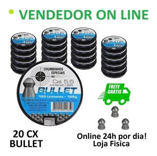 Kit 20 Caixas Chumbinho Bullet Perfuração 5,5mm 2500 Und