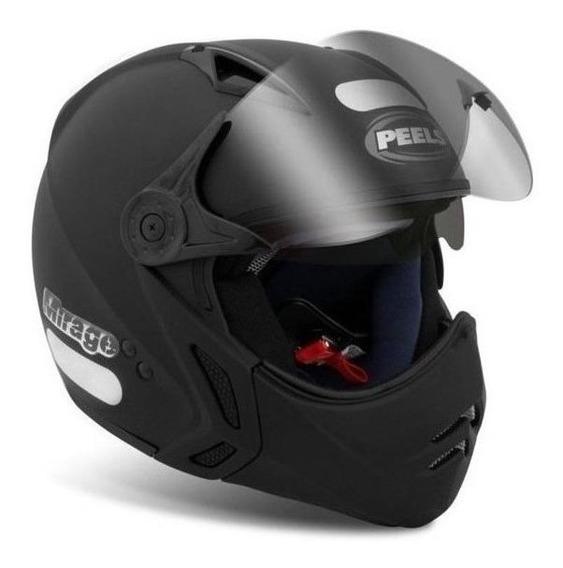 Capacete para moto multi-modular Peels Mirage New Classic preto-fosco M