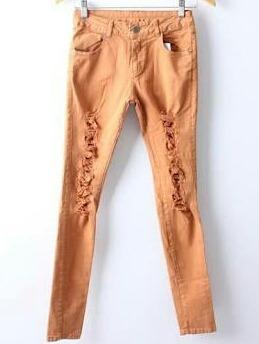 Calça Cintura Alta Rasgada Desfiada Hot Pants Caramelo 44