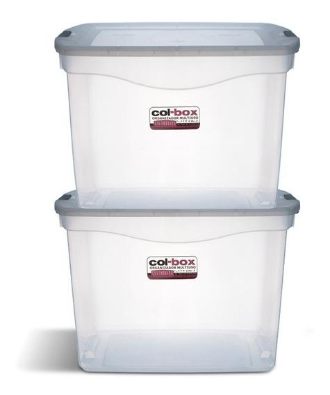 Caja Organizador Plastico Apilable Tapa Taper 36 Litros X 2 Colombraro