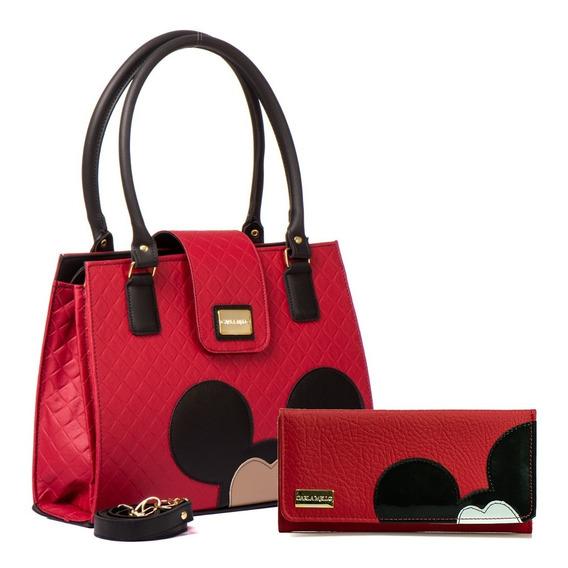 Bolsas Femininas Transversal Forrado Kit Disney Com Carteira