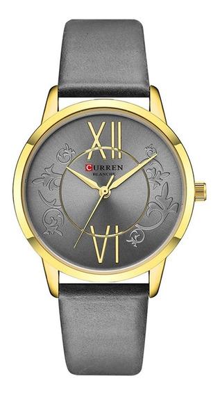 Relógio Feminino Curren Analógico C9049l - Dourado E Cinza