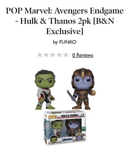 Funko Pop Hulk Y Thanos End Game Esclusivo De Barnes