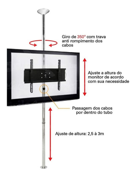 Suporte Com Inclinação Teto E Chão Tv Sky-full Preto 1.5m