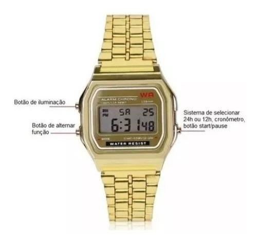 Relógio De Pulso Retro Vintage Wr Dourado