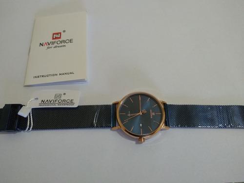 Relógio De Pulso Naviforce Azul Pulseira Aço