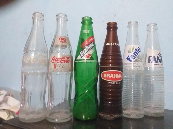 Lote Com 6 Garrafas De Vidro De Refrigerante