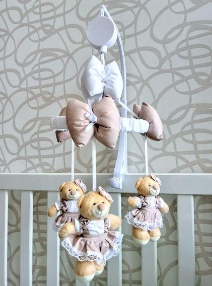 Mobile Musical E Giratório Urso Camponesa Rose Berço Bebe