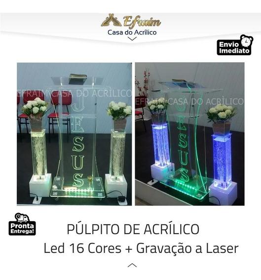 Púlpito De Acrílico + Led 16 Cores + Gravação + Brinde