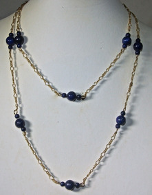 Rsp J5527 Maxi Colar 86cm Rev A Ouro Lapis Lazuli Natural