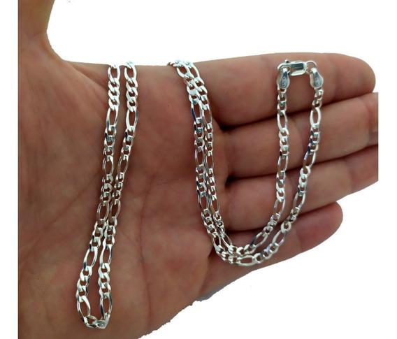 Corrente Prata 925 Masculina 3x1 70cm 4mm 14g Promoção