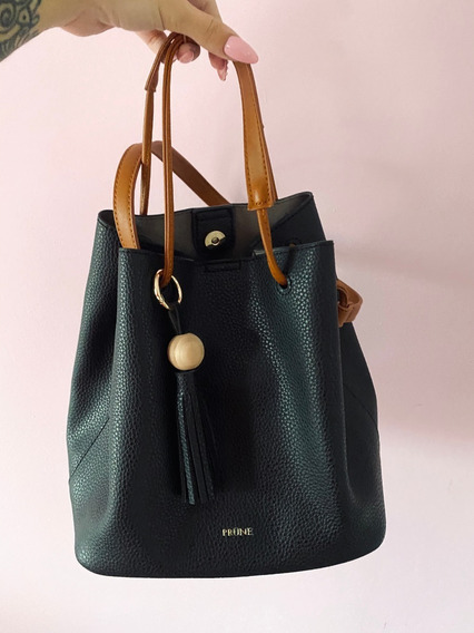 Cartera Prune Negra Con Marron