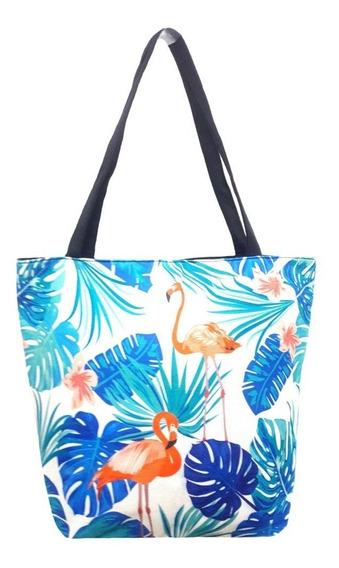 Bolsa De Ombro Em Lona Feminina Praia Estampa Flamingo