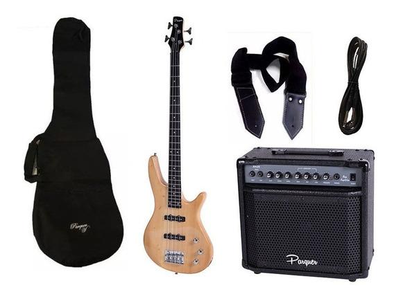 Combo Bajo Electrico Parquer Jazz Bass Madera Amplificador