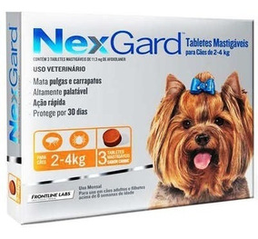 Antipulgas Nexgard Para Cães De 2 A 4 Kg - 3 Tabletes