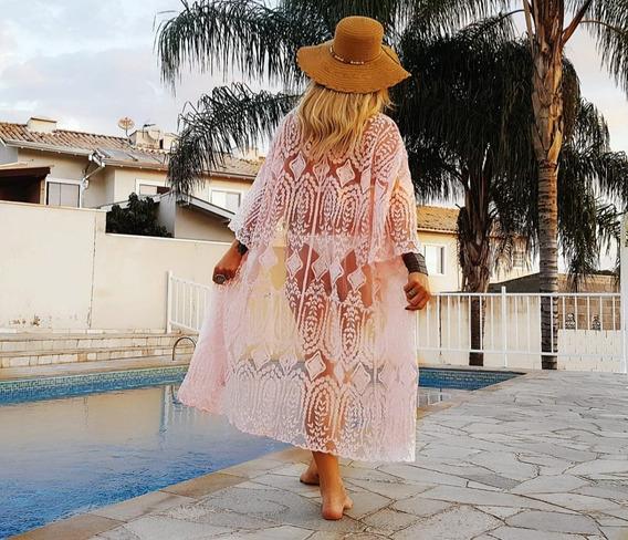 Vestido Moda Praia Verão 2017 Transparência Casual Renda 800