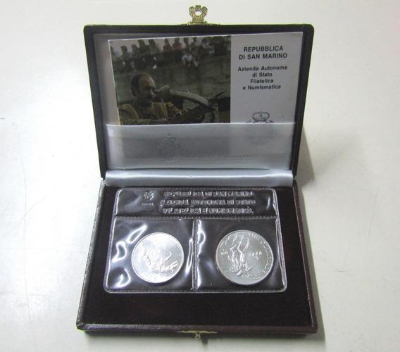San Marino Set X 2 Monedas Liras Plata 1984 Olimpiadas Xxiii