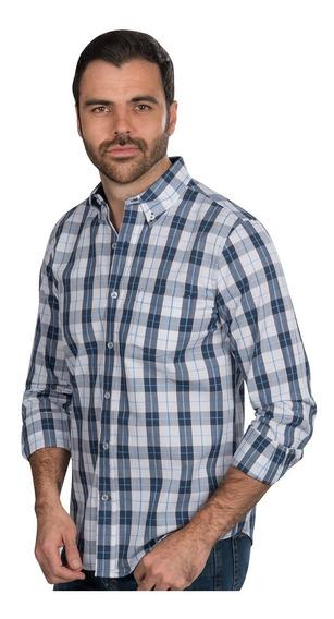 Camisa Hombre Cuadros Azul Blanco Slim Fit Casual Moda 90102