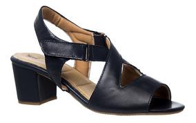 Sandália Feminina 284 Em Couro Azul Marinho Doctor Shoes